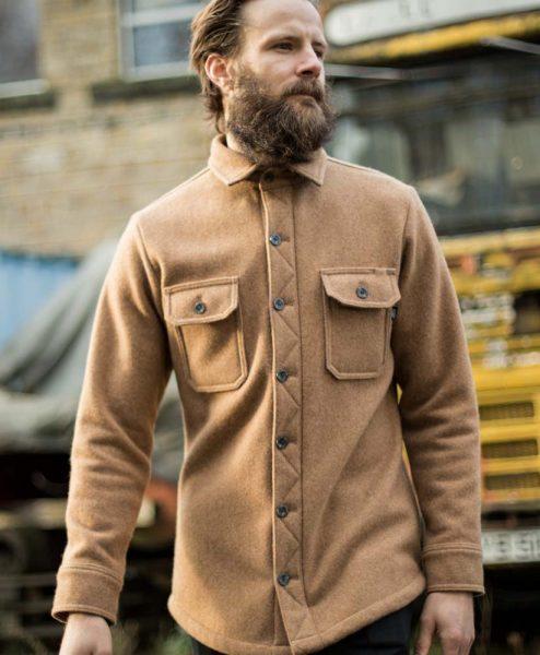 McNair Men's heavy weight merino Mountain Shirt in camel