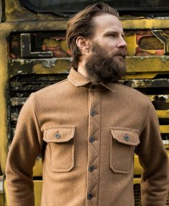 McNair Men's heavy weight merino Mountain Shirt in camel