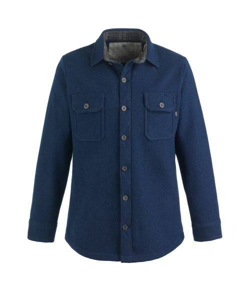 McNair Men's mid weight merino mountain shirt in Slawit blue