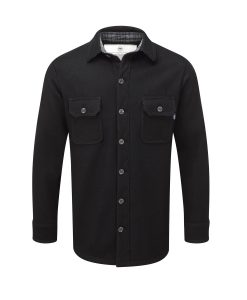 Men's heavy weight merino shirt in black