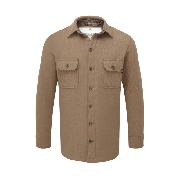Men's heavy weight merino shirt in camel