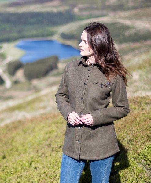 McNair women's merino Fell Shirt in Dark Sage