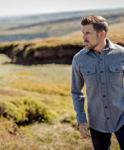 McNair men's midweight merino Mountain Shirt in Ash Melange