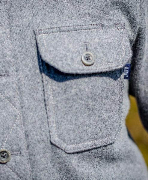 McNair men's midweight merino Mountain Shirt in Ash Melange - pocket detail