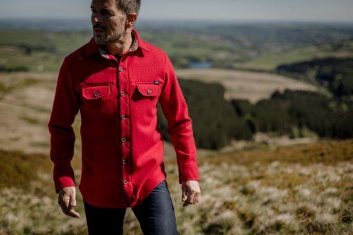 McNair men's merino shirt in Chilli red