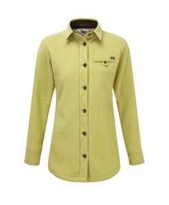 McNari women's heavy weight merino fell shirt in English Mustard