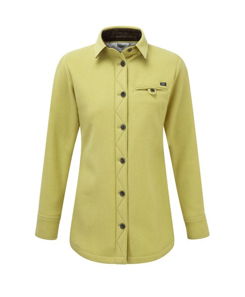 McNair women's heavy weight merino fell shirt in English Mustard
