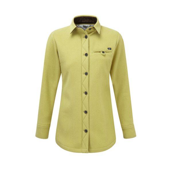 McNair women's heavy weight merino fell shirt in English Mustard