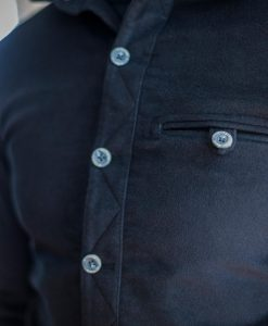 MnNair men's moleskin Beck shirt in Midnight blue - pocket detail