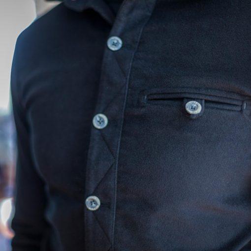 MnNair men's moleskin Beck shirt in Midnight blue - pocket detail