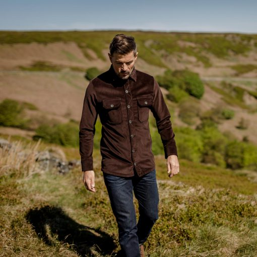 McNair Men's PlasmaDry corduroy Work Shirt in Peat (brown)