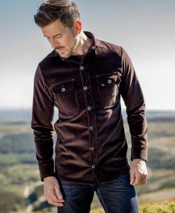 McNair Men's PlasmaDry corduroy Work Shirt in Peat (brown)