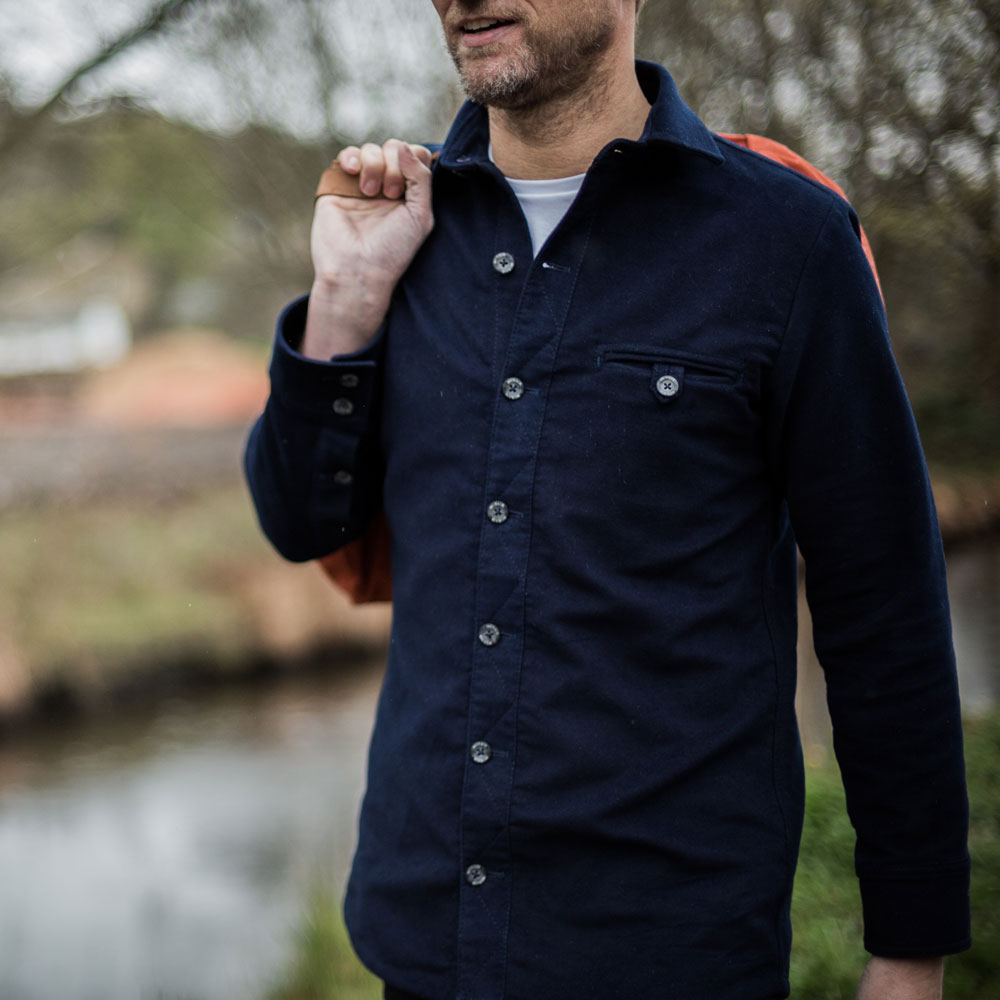 McNair Men's PlasmaDry Moleskin shirt in deep navy