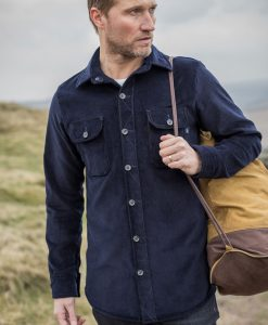 McNair Men's Corduroy Work shirt in deep navy