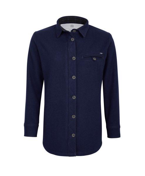 McNair women's merino Fell Shirt in Navy blue