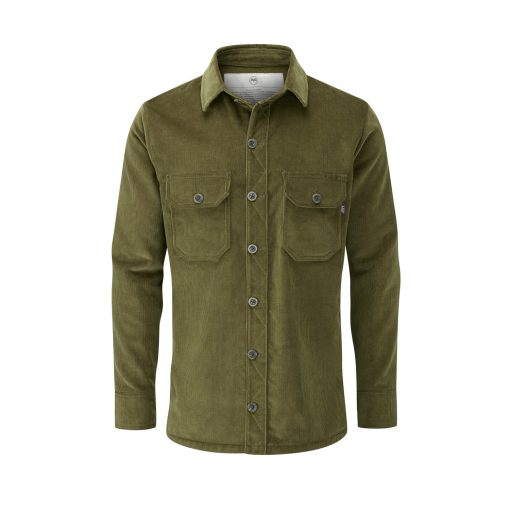 McNair Men's PlasmaDry corduroy Work Shirt in moss green
