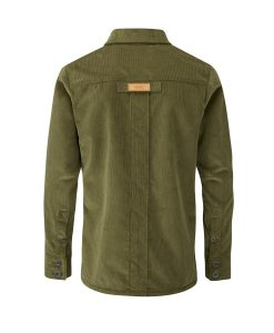 McNair Men's PlasmaDry corduroy Work Shirt in moss green (back)