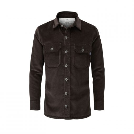 McNair Men's PlasmaDry corduroy Work Shirt in peat brown