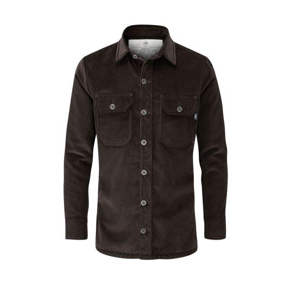 McNair Men's PlasmaDry corduroy Work Shirt in peat brown