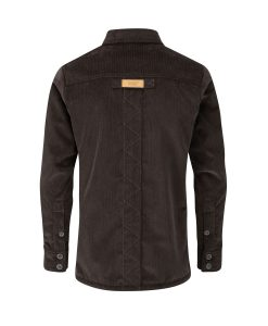 McNair Men's PlasmaDry corduroy Work Shirt in peat brown (back)