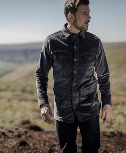 McNair men's PlasmaDry Moorland Shirt in Lead Grey