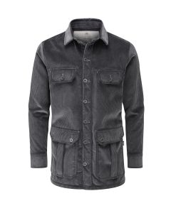 McNair men's PlasmaDry corduroy Moorland Shirt in Lead Grey