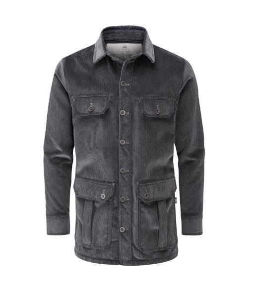 McNair men's PlasmaDry corduroy Moorland Shirt in Lead Grey