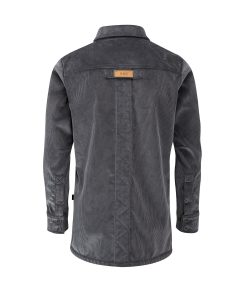 McNair men's PlasmaDry corduroy Moorland Shirt in Lead Grey (back)