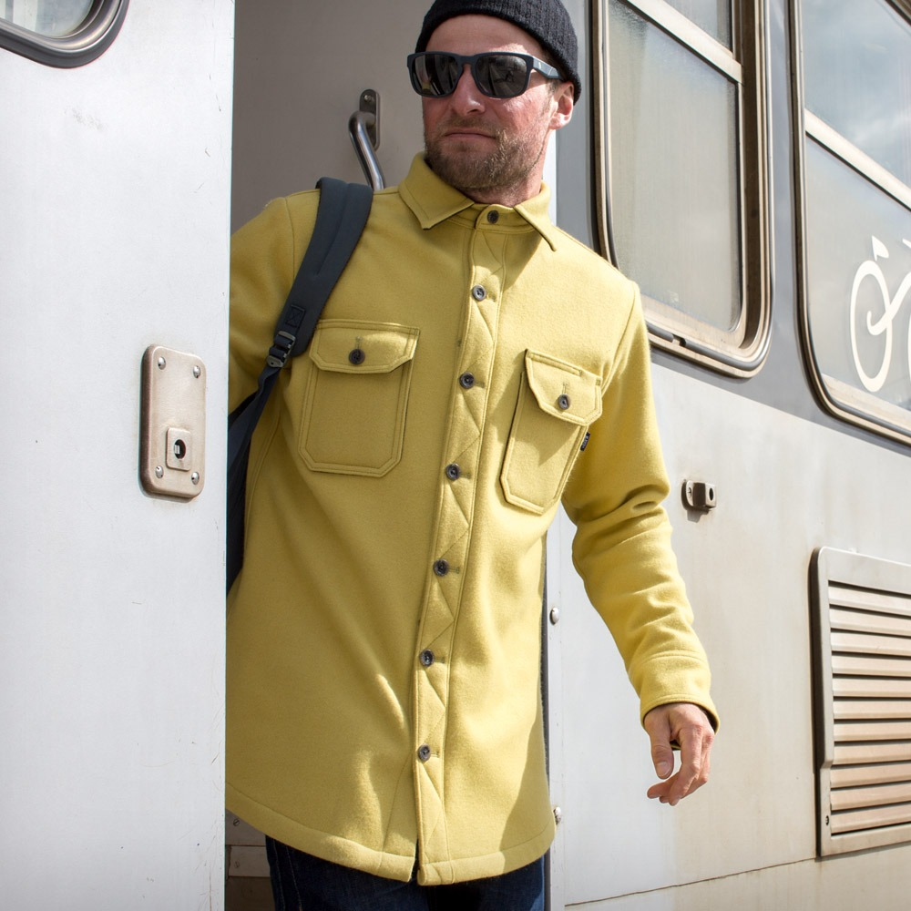 McNair men's heavy weight merino Mountain Shirt in English Mustard