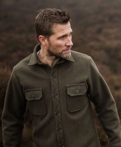 Men's heavy weight merino mountain shirt in dark sage