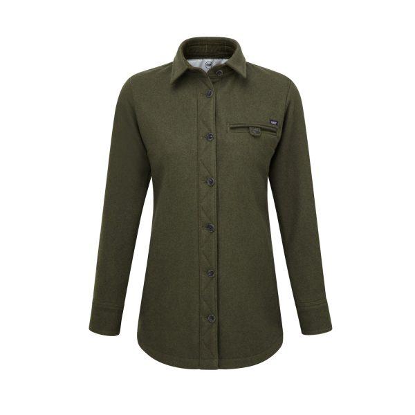 McNair women's heavy weight merino Fell shirt in dark sage
