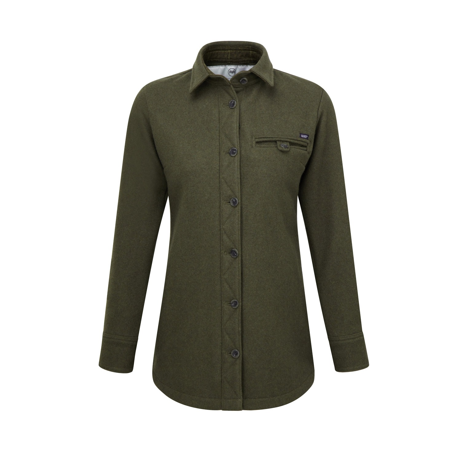 McNair women's heavy weight merino Fell shirt in dark sage