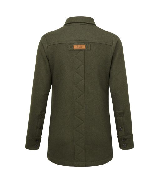 McNair women's heavy weight merino Fell shirt in dark sage - back
