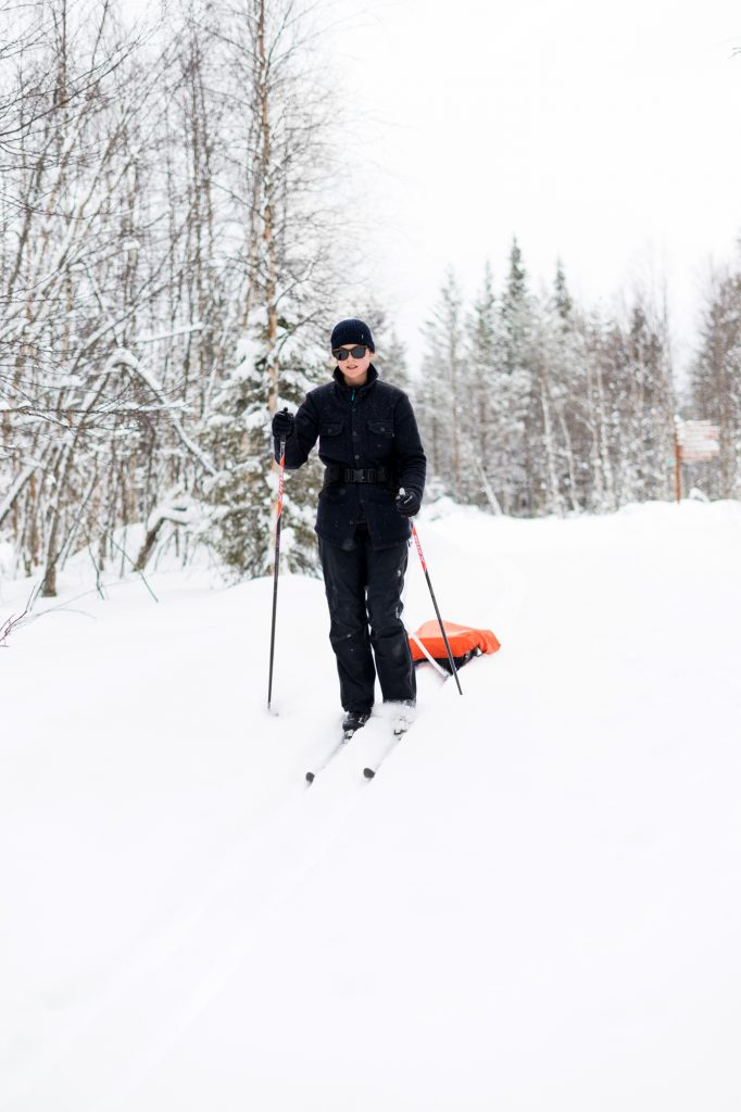 Liz Seabrook wearing a McNair Mountain Shirt on a cross-country skiing expedition in Finland