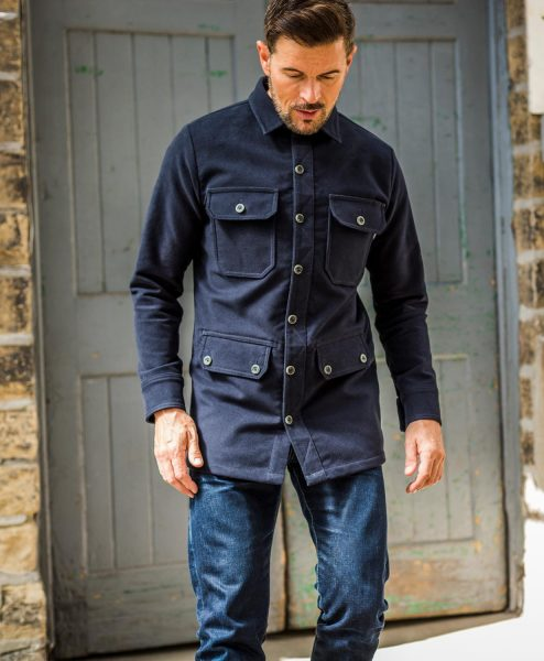 McNair men's moleskin Field Shirt in Midnight blue