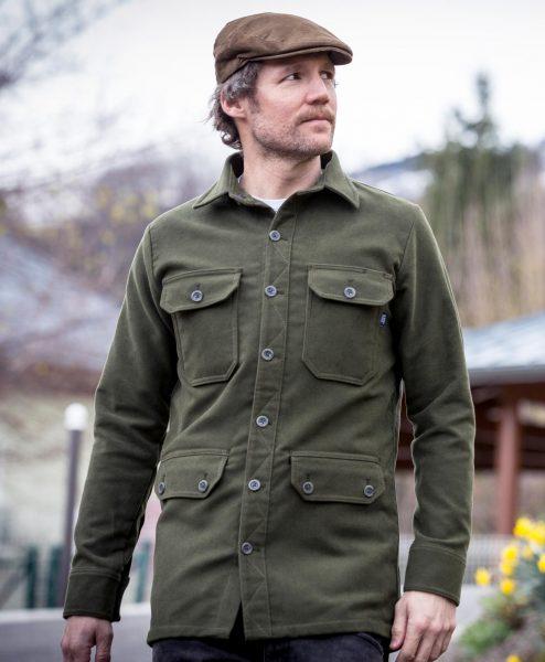 McNair men's moleskin Field Shirt in olive green
