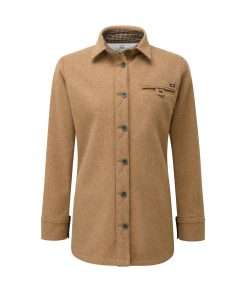 McNair women's heavyweight merino Fell shirt in camel