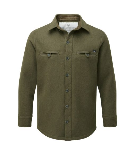 McNair Men's midweight merino Fell Shirt in Dark Sage