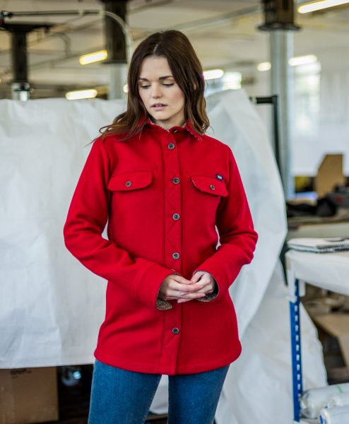 McNair women's merino Ridge Shirt in Chilli red