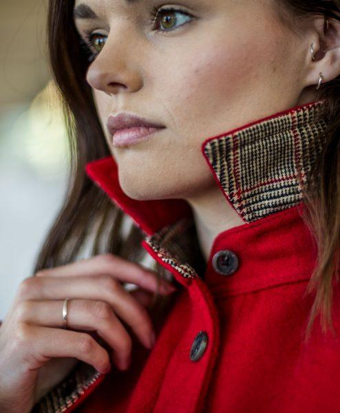 McNair women's merino Ridge Shirt in Chilli red