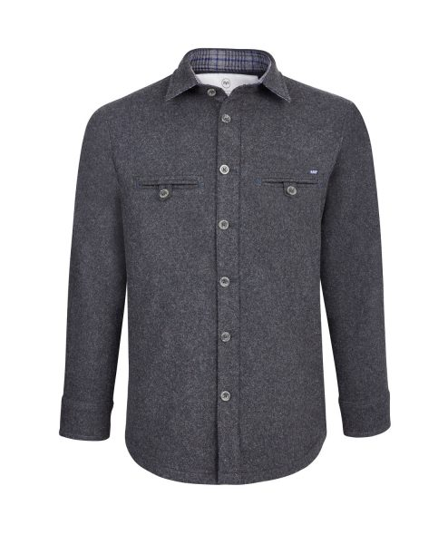 McNair men's Provenance AG merino Fell Shirt in Charcoal Melange