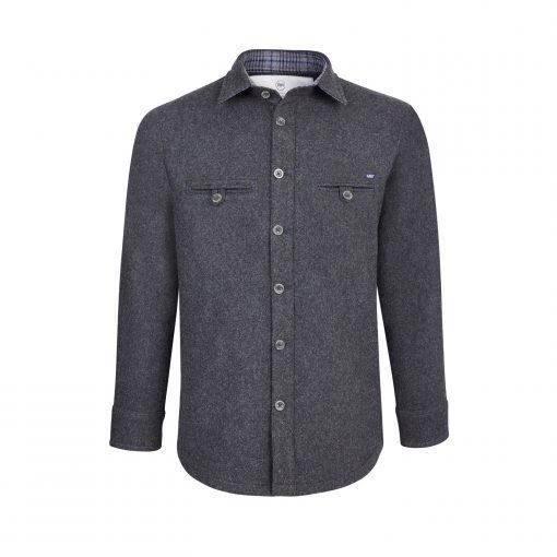 McNair men's Provenance AG merino Fell Shirt in Charcoal Melange