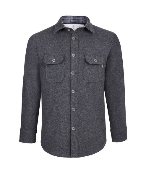 McNair men's Provenance AG merino Mountain Shirt in Charcoal Melange