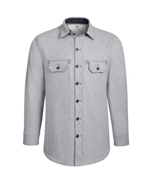 McNair men's merino Ridge Shirt in Arctic Silver