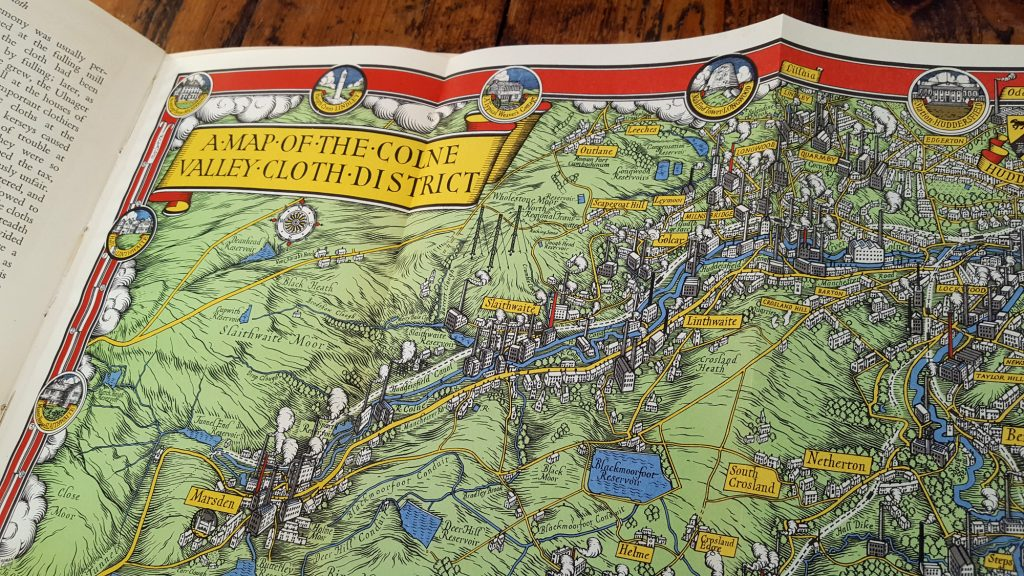 Colne Valley Cloth - Vintage map of the Colne Valley, Huddersfield