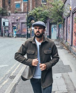 McNair heavyweight corduroy flat cap in Lead