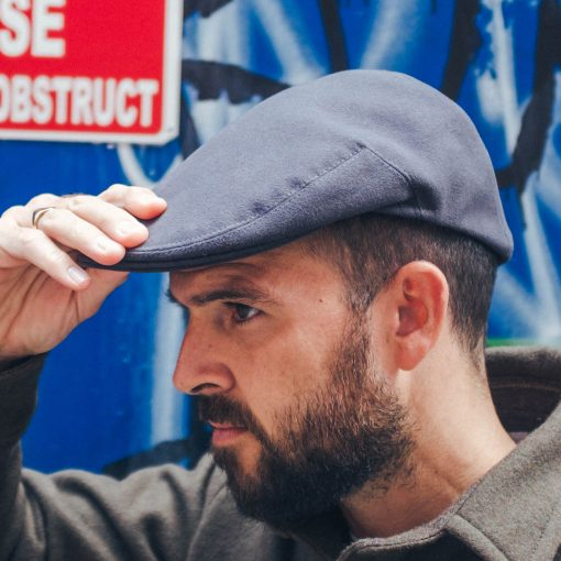 McNair heavyweight moleskin flat cap in Thunder