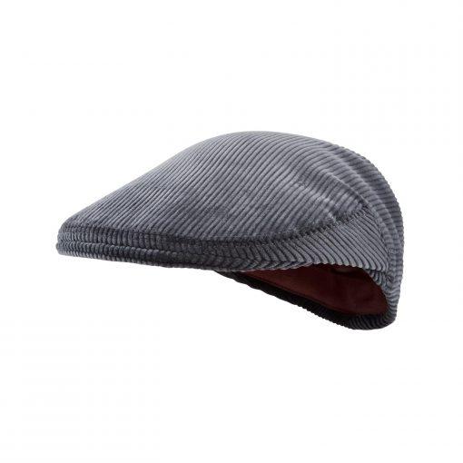 McNair Pennine flat cap in Lead Grey corduroy