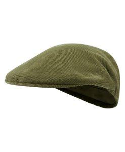 McNair Pennine flat cap in moss green corduroy
