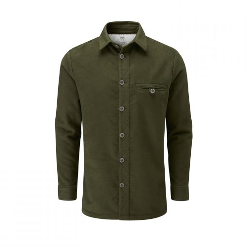 McNair men's moleskin Beck Shirt in Olive Green